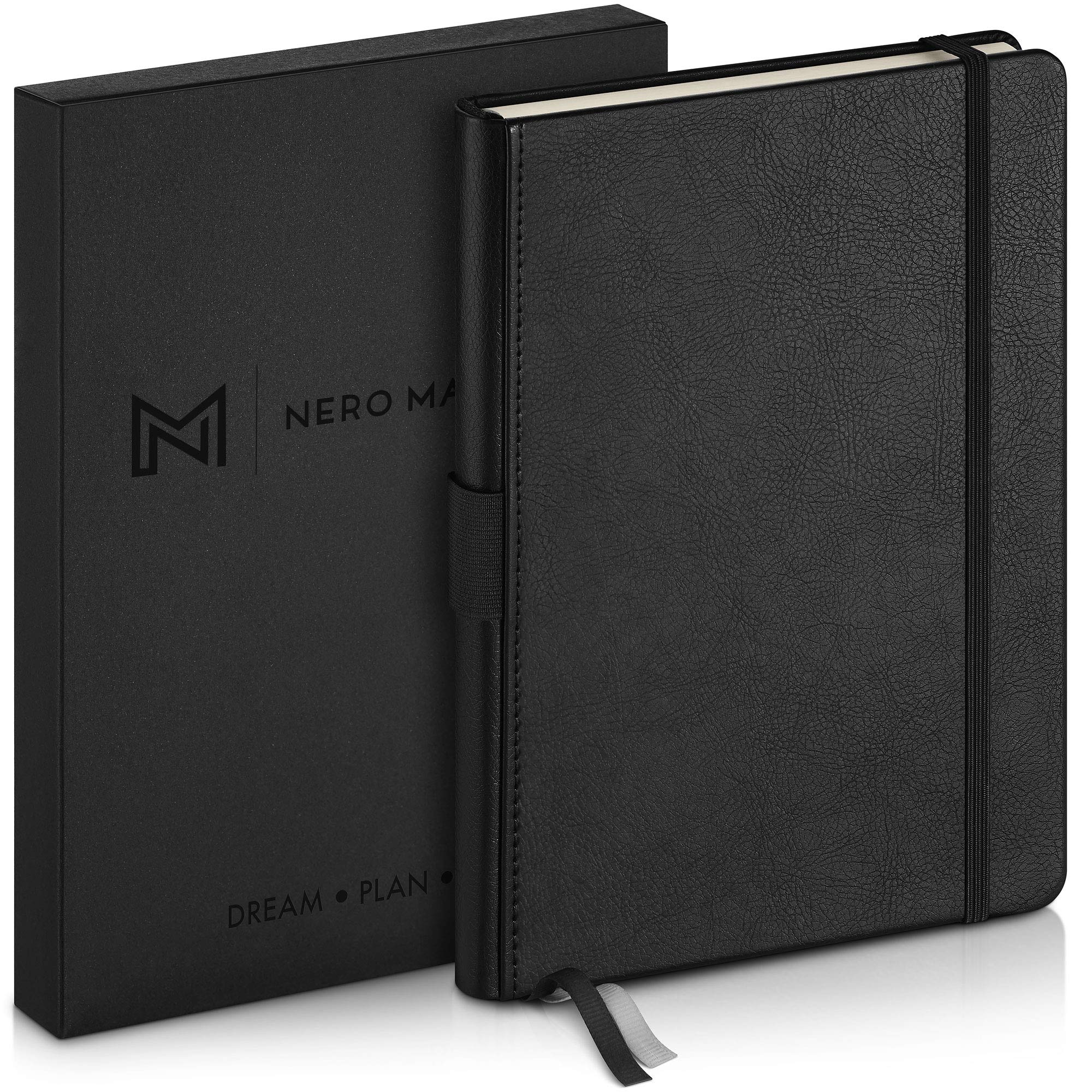 """NERO MANETTI Black Premium Notebook - Hardcover Vegan Leather 8.4"""" x 5.7"""" A5 College Ruled Lined Journal, Classic Notebook, Executive Notebook – 160 Pages, Acid-Free Paper Resists Ink Bleeding"""