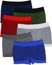 ToBeInStyle Boy's Pack of 6 Seamless Boxer Briefs - Simple Thin Stripes
