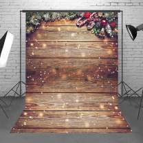 Demohome 5X7ft Durable Fabric Snowflake Glitter Christmas Rustic Wood Wall Photography Backdrop Xmas Wooden Floor Background for Christmas Birthday Party Kids Portrait Photo Studio Booth Props