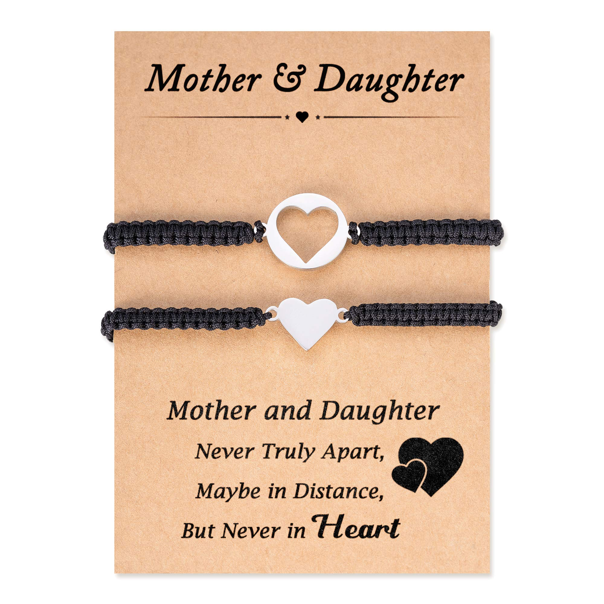 Seyaa Mother Daughter Bracelets Mom Mommy and Me Jewelry Heart Matching for Women Girls