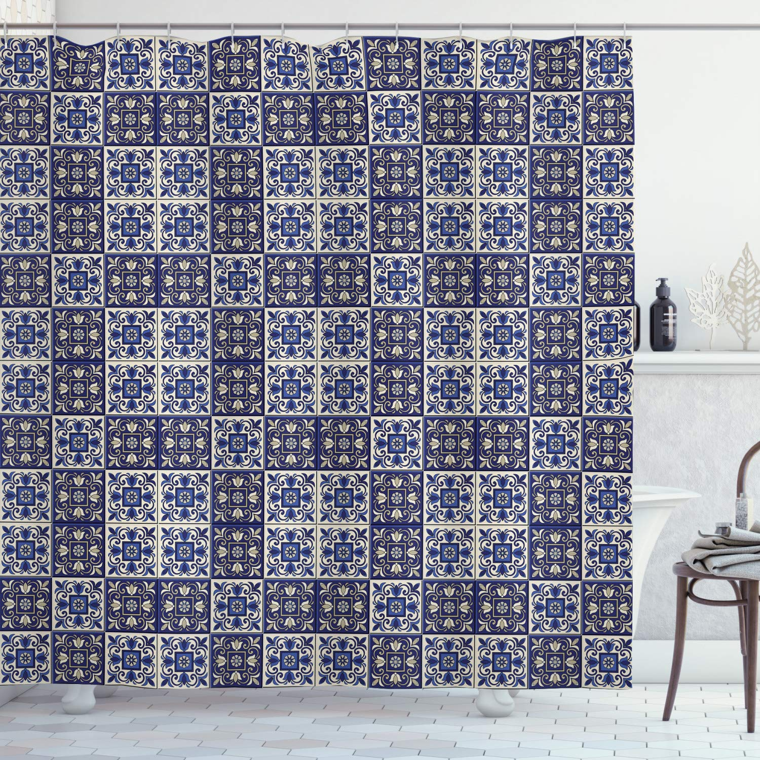 """Ambesonne Moroccan Shower Curtain, Squares with Portuguese Azulejo Ornaments Arrangement Floral Pattern Leaves, Cloth Fabric Bathroom Decor Set with Hooks, 84"""" Long Extra, Navy Blue"""