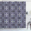 """Ambesonne Moroccan Shower Curtain, Squares with Portuguese Azulejo Ornaments Arrangement Floral Pattern Leaves, Cloth Fabric Bathroom Decor Set with Hooks, 70"""" Long, Navy Blue"""
