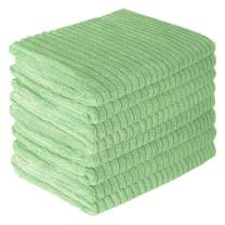 Gryeer Microfiber Kitchen Towels, Super Absorbent, Soft and Lint Free Dish Towels, One Side Ribbed One Side Smooth Tea Towels, 26x18 Inch, Pack of 8, Green