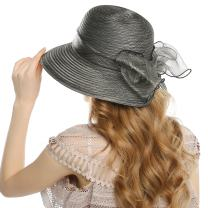 WELROG Lady Church Derby Dress Cloche Hat Fascinator Floral Tea Party Wedding Bucket Sun Hat