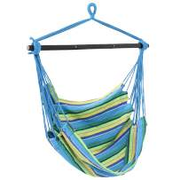 Sunnydaze Hanging Rope Hammock Chair Swing with Collapsible Bar - Hanging Chair Seat for Backyard & Patio - 265-Pound Weight Capacity - Ocean Breeze