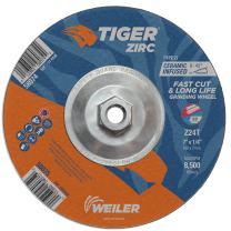 """Weiler 58074 7"""" x 1/4"""" Tiger Zirc Type 27 Grinding Wheel, Z24T, 5/8""""-11"""" UNC Nut (Pack of 10)"""
