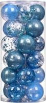 """XmasExp 24ct Christmas Ball Ornaments Shatterproof Large Clear Plastic Hanging Ball Decorative with Stuffed Delicate Decorations (70mm/2.76"""", Blue)"""