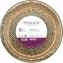 """Mozaik Hammered Gold Premium Plastic 12"""" Chargers/Serving Platters, 8 count"""