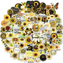 Sunflower Stickers for Laptop, Water Bottle,Luggage Case 100PCS Trendy Vinyl Stickers for Adult,Kids,Teens Funny Girl Power Stickers Waterproof