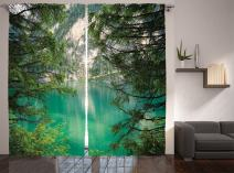 """Ambesonne Landscape Curtains, Mountain Lake Lago di Braies in Italy Mountain View with Fresh Pine Trees, Living Room Bedroom Window Drapes 2 Panel Set, 108"""" X 84"""", Green Ivory"""