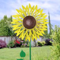 """Exhart Giant Kinetic Yellow Sunflower Stake   Dual Wind Powered Art Spinning Décor Stake   Durable Weather Resistant & UV Treated Outdoor Stake for House or Garden Decor   24"""" Wide & 72"""" Tall"""
