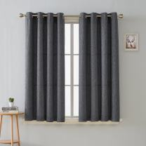 Deconovo Durable Textured Energy Efficient Top Grommet Curtains for Living Room, 52x63 Inch, Dark Grey
