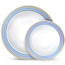 Laura Stein Designer Dinnerware Set | 32 Disposable Plastic Party Bowls | White Wedding Bowl with Blue Rim & Gold Accents | Set Includes 16 x 12 oz Soup Bowls + 16 x 5 oz Dessert Bowls | Midnight Blue