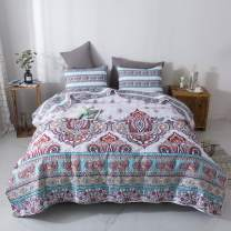 DaDa Bedding Bohemian Paisley Bedspread - Cozy Coconut White Sky Beach Vibes Floral - Bright Vibrant Multi-Colorful Quilted Coverlet Set - Turquoise Blue, Red, Purple, Orange - Full Size - 3-Pieces