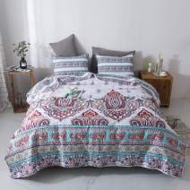 DaDa Bedding Bohemian Paisley Bedspread - Cozy Coconut White Sky Beach Vibes Floral - Bright Vibrant Multi-Colorful Quilted Coverlet Set - Turquoise Blue, Red, Purple, Orange - King Size - 3-Pieces