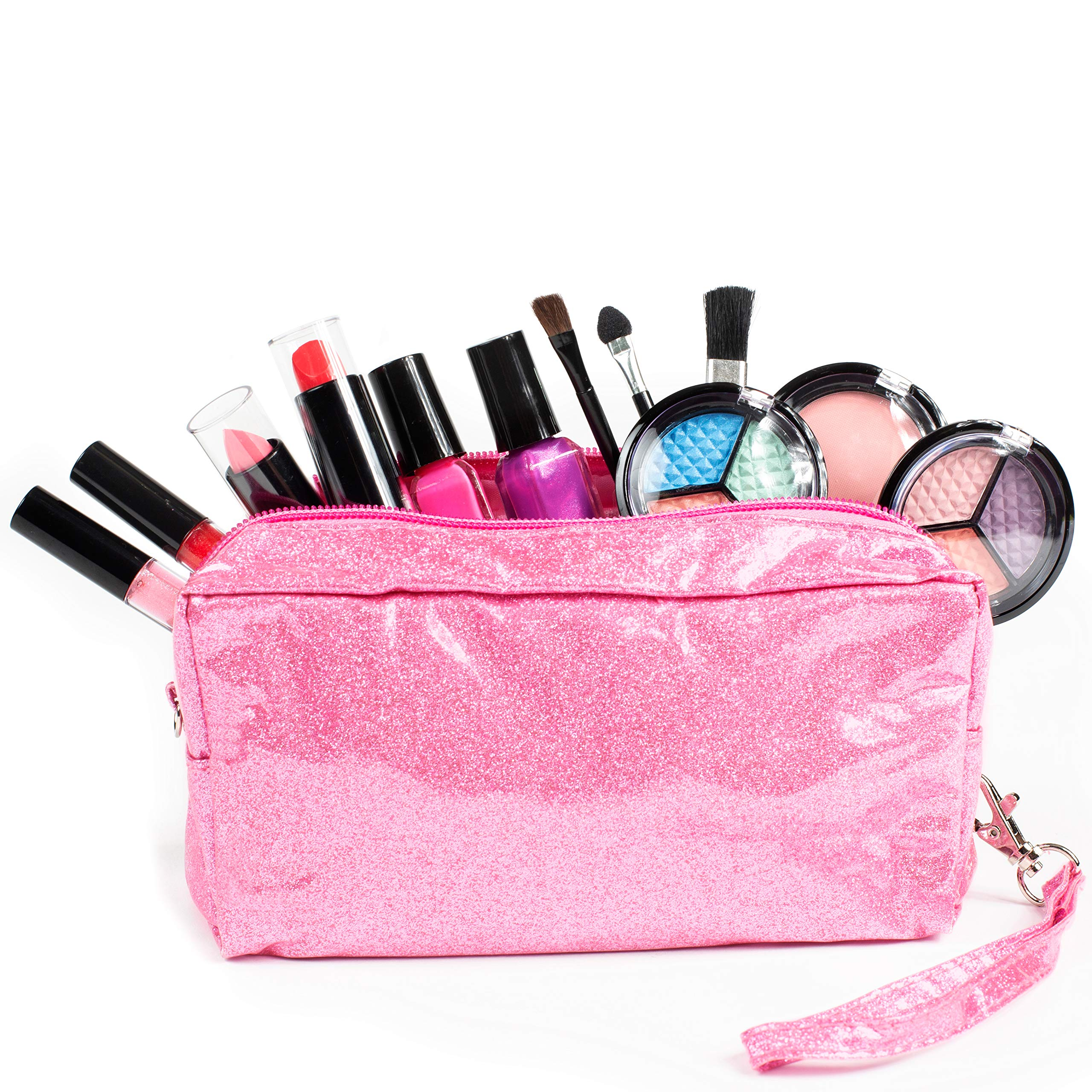 SmartEmily Girls Toys - Kids Vanity Set with Glitter Cosmetic Bag, Perfect Play Kit for Girls and Teens, Washable and Non-Toxic, Real Play Make up, Pink