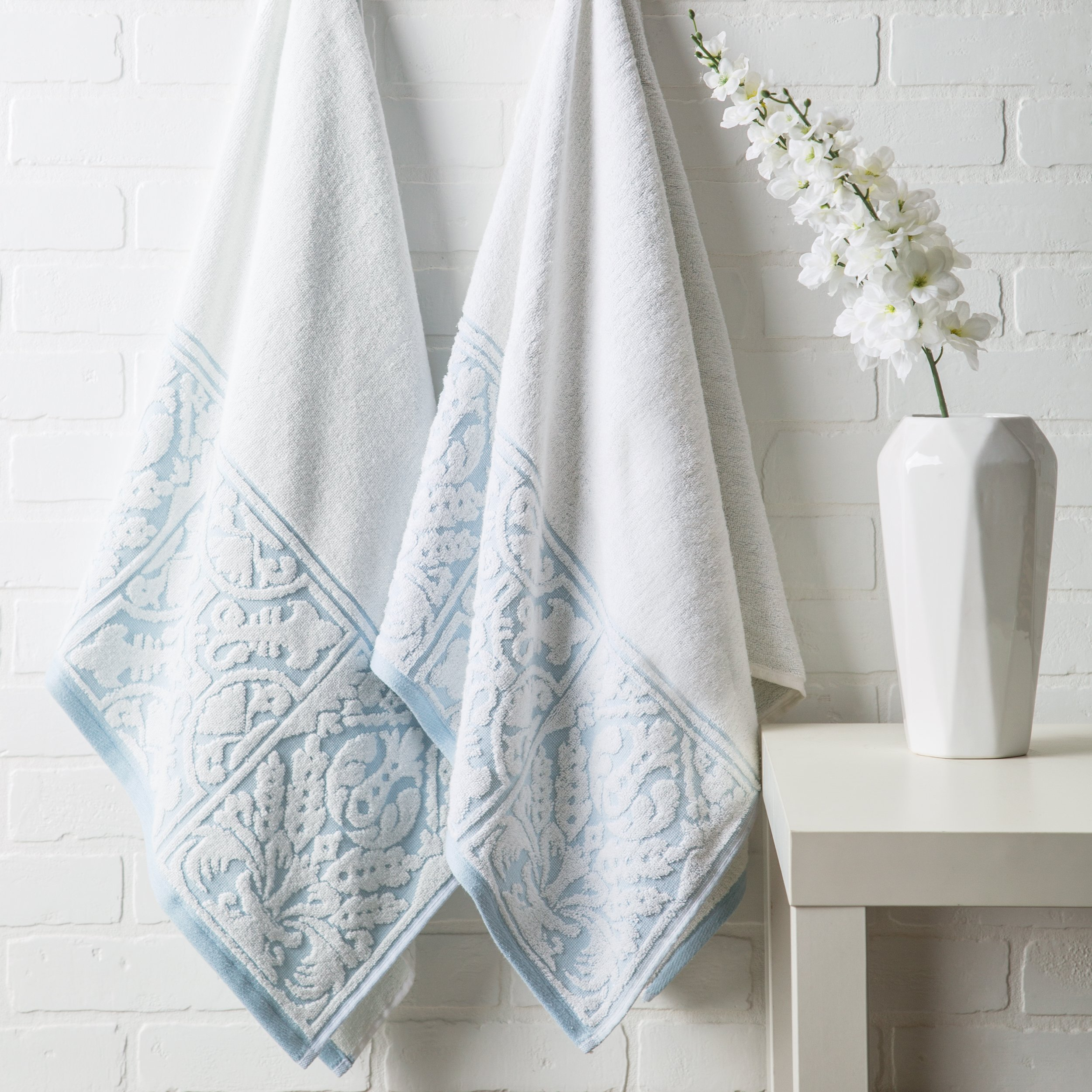 Luxor Linens - 100% Cotton 3 PC Absorbent Jacquard Towel Set, Hotel Luxury- 1 Bath Towel, 1 Hand Towel, 1 Wash Cloth - White/Aquamarine