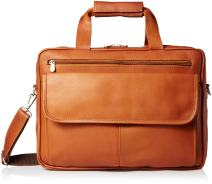 Piel Leather Slim Top-Zip Briefcase, Saddle