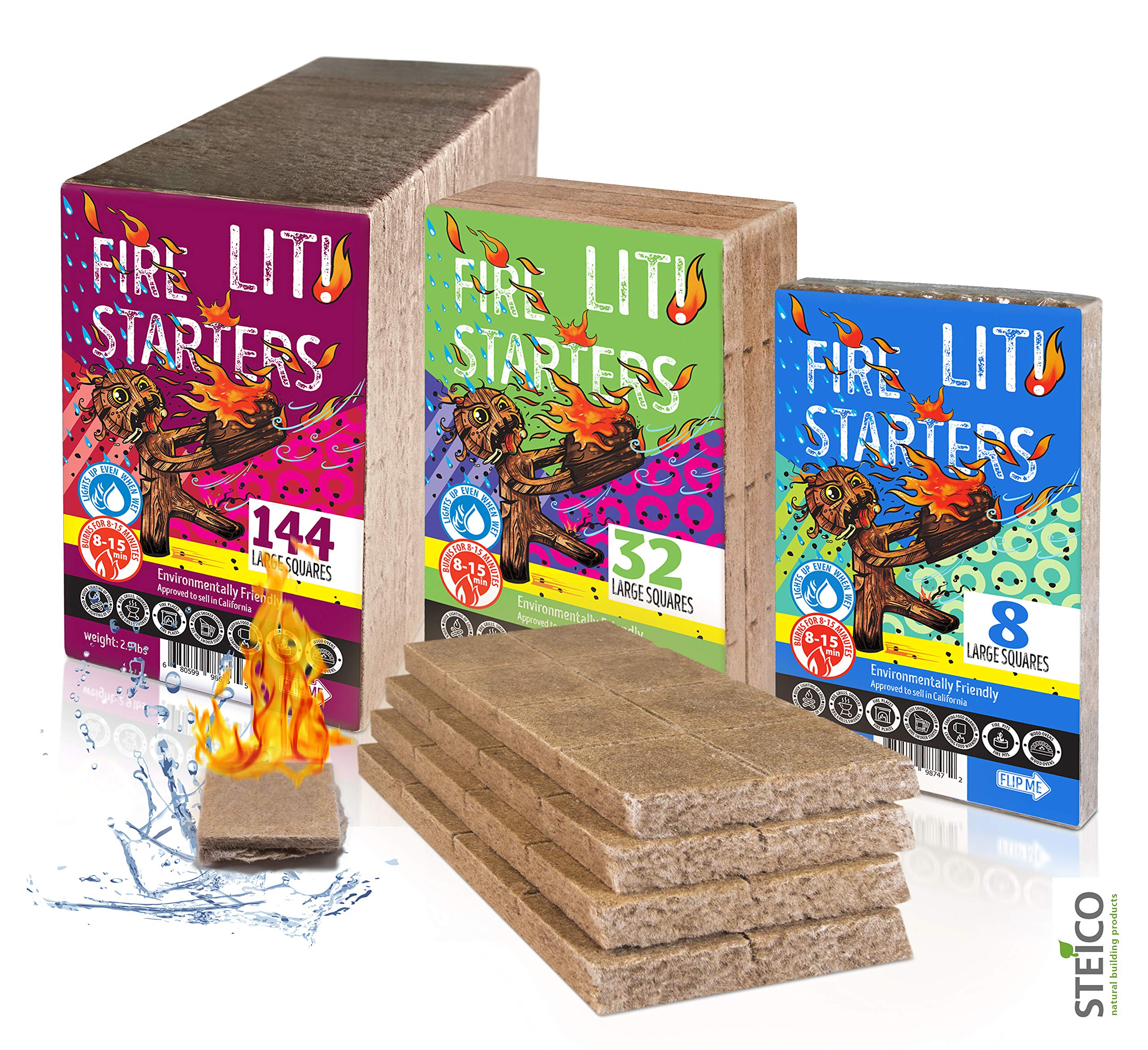 STEICO Large Squares   Waterproof Fire Starters   All Natural   Burns 8-15 min   Charcoal - Logs - BBQ - Grill - Campfire - Fireplace - Fire Pit - Wood Oven and Stove   8, 32, 144 Firestarters