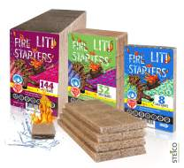 STEICO Large Squares | Waterproof Fire Starters | All Natural | Burns 8-15 min | Charcoal - Logs - BBQ - Grill - Campfire - Fireplace - Fire Pit - Wood Oven and Stove | 8, 32, 144 Firestarters