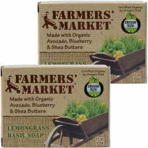 Farmers' Market Organic Bar Soap Lemongrass and Basil, Pack of 2, 5.5-Ounces Each