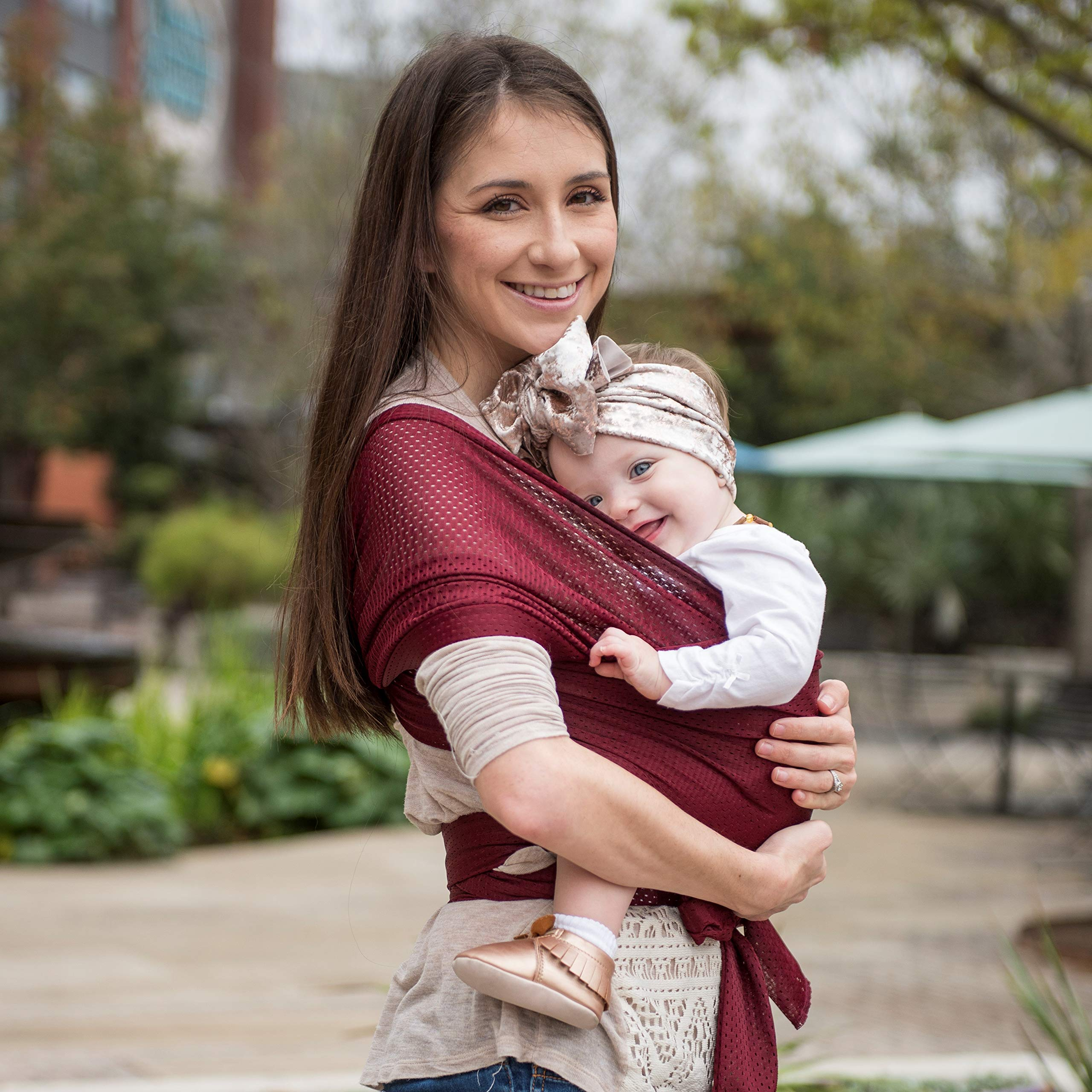Beachfront Baby Wrap - Versatile Water & Warm Weather Baby Carrier | Made in USA with Safety Tested Fabric, CPSIA & ASTM Compliant | Lightweight, Quick Dry (Sparkling Sangria, X-Long)