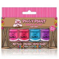 Piggy Paint - 100% Non-Toxic Girls Nail Polish, Safe, Chemical Free, Low Odor for Kids - 4 Polish Gift Set - 4 Bottle Gift Box
