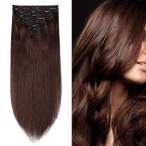 S-noilite 14inch 100% Real Human Hair Clip in Extension 8pcs Thickened Double Weft Hair Extension 120g Full Head Human Hair Clip in Balayage Clip on Extensions #04 Medium Brown