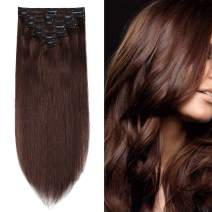 S-noilite Thick 130gram for Full Head Human Hair Clip in Extensions Real Human Hair Clip in 16inch 8pcs Double Weft Clip on Hair Grade 7A Quality #04 Medium Brown