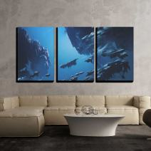 "wall26 - 3 Piece Canvas Wall Art - Illustration - Fantasy Island Floating in The Sky,Illustration Painting - Modern Home Decor Stretched and Framed Ready to Hang - 24""x36""x3 Panels"