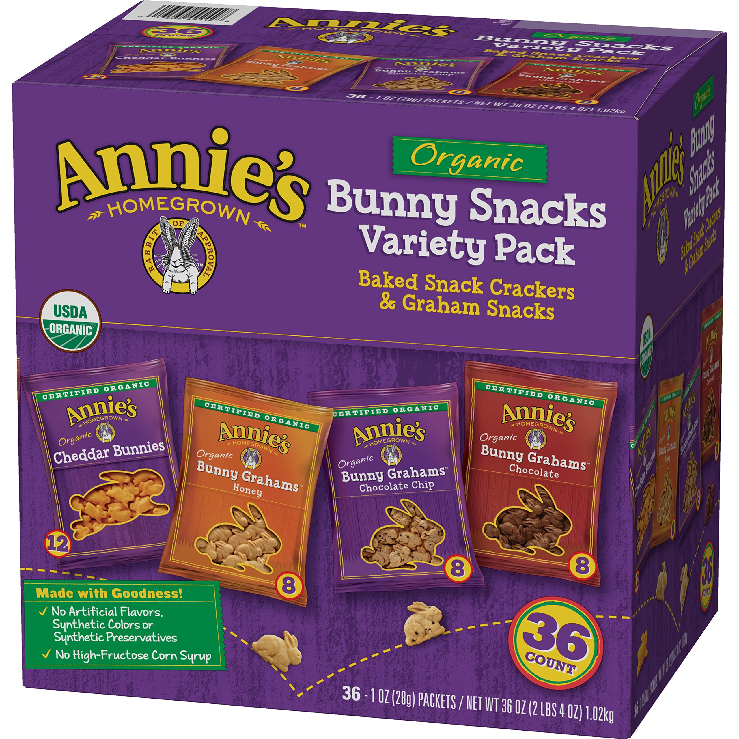 Annie's Organic Variety Pack, Cheddar Bunnies and Bunny Graham Crackers Snack Packs, 36  (1 oz.) Pouches