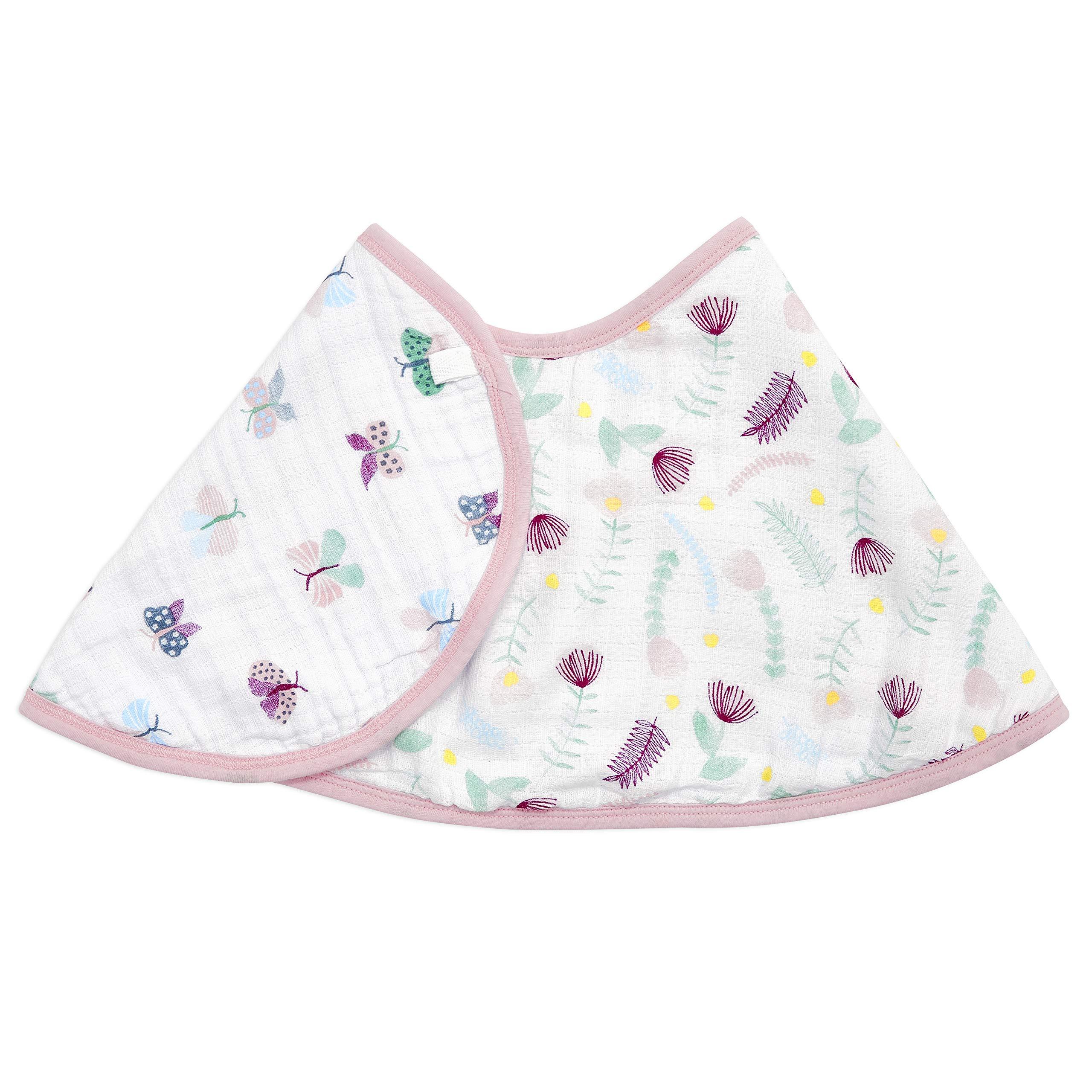 "aden + anais Burpy Baby Bib, 100% Cotton Muslin, Soft Absorbent 4 Layers, Multi-Use Burp Cloth and Bib, 22.5"" X 11"", Single, Floral Fauna"