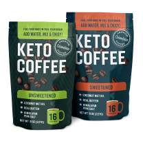 360 Nutrition Instant Keto Coffee Bundle   Unsweetened & Sweetened 8 oz Bags   MCT Oil with Organic Grass-Fed Butter