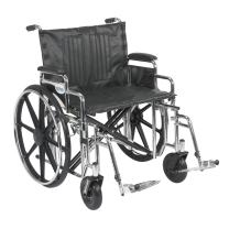 Drive Medical Sentra Extra Heavy Duty Wheelchair with Various Arm Styles and Front Rigging Options, Black, Bariatric, 24 Inch