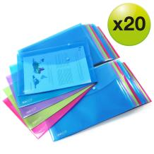 Rapesco 1494 A4/Foolscap Bright Transparent Popper Wallet, Multi-Colour, Pack of 20