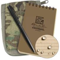 "Rite in the Rain Weatherproof 3"" x 5"" Top-Spiral Notebook Kit: MultiCam CORDURA Fabric Cover, 3"" x 5"" Tan Notebook, and Weatherproof Pen (No. 935M-KIT)"