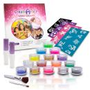 Glitter Tattoo Kit - Amazing Gift Idea for Girls (15 X-Large Color Jars, 32 Temporary Tattoos Stencils, 2 Glue Applicator & 2 Cosmetic Brushes) Hypoallergenic, Waterproof and Easy to Apply