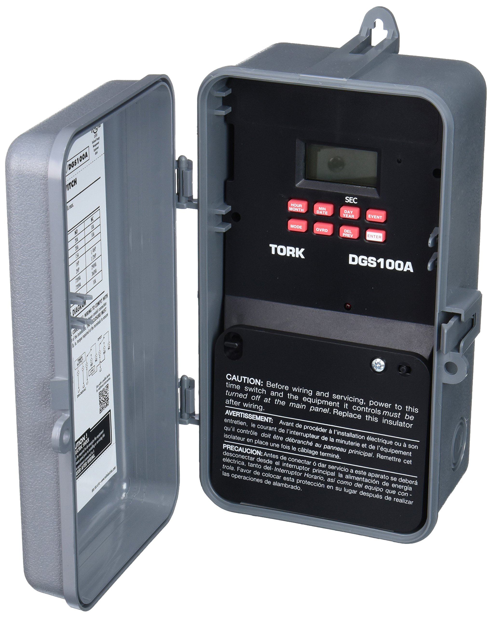 DGS Series Signaling and Duty Cycle 7 Day Time Switch with 1 Channel, 120-277 VAC 50/60 Hz Input Supply, DPDT Output Contact