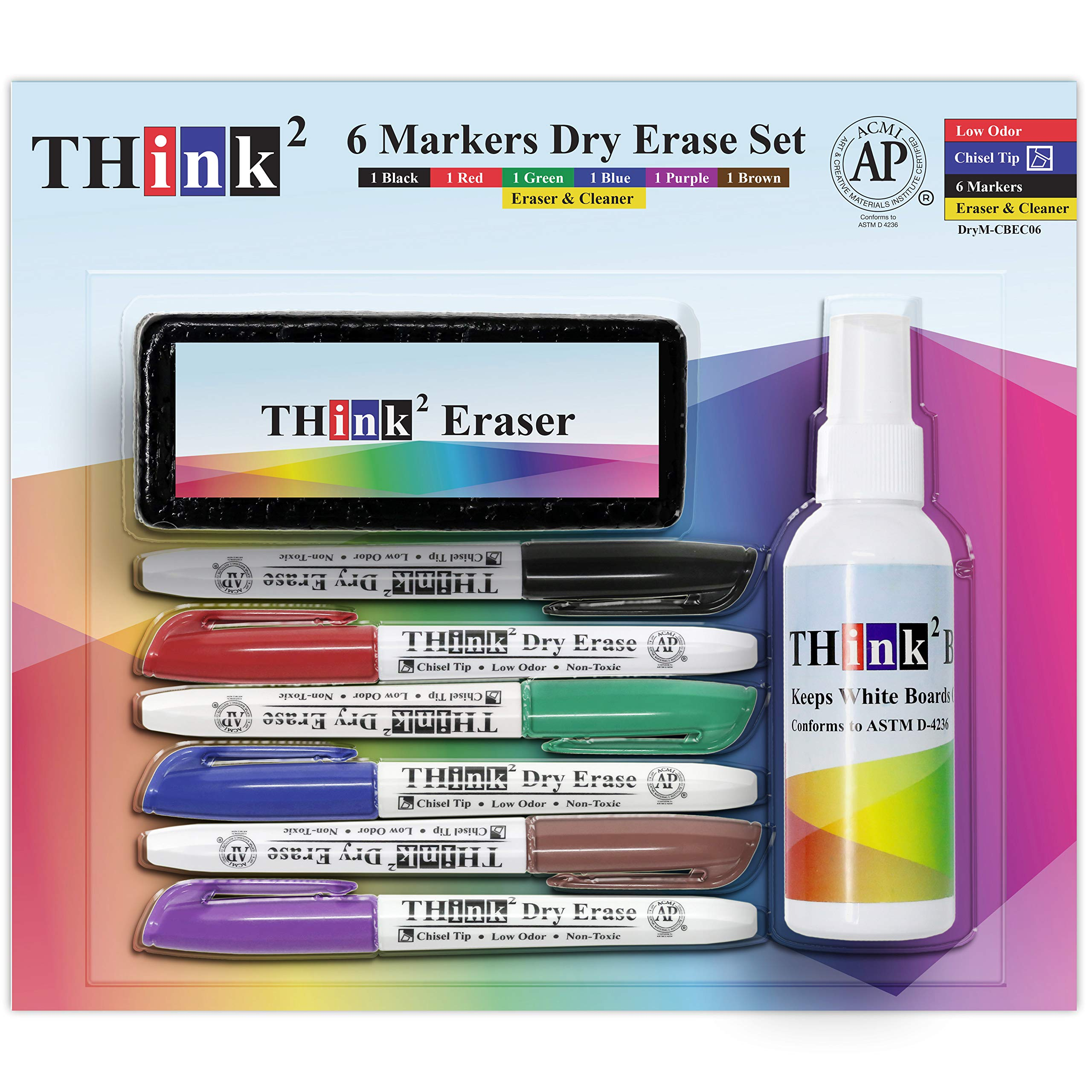 [6 Color Dry Erase Markers] Think2 Chisel Tip Markers with Eraser & Cleaner Set. (1 Black, 1 Red, 1 Blue, 1 Green, 1 Purple, 1 Brown) AP Certified German Ink. For Kids, Classroom, Office, Home