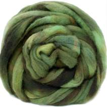 Wool Roving Hand Dyed. Super Soft BFL Combed Top Pre-Drafted for Easy Hand Spinning. Artisanal Craft Fiber ideal for Felting, Weaving, Wall Hangings and Embellishments. 4 Ounce. Bronze Green