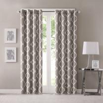 Madison Park Saratoga Window Curtain Light Filtering Fretwork Print 1 Panel Grommet Top Drapes/Valance for Living Room Bedroom and Dorm, 50x95, Grey