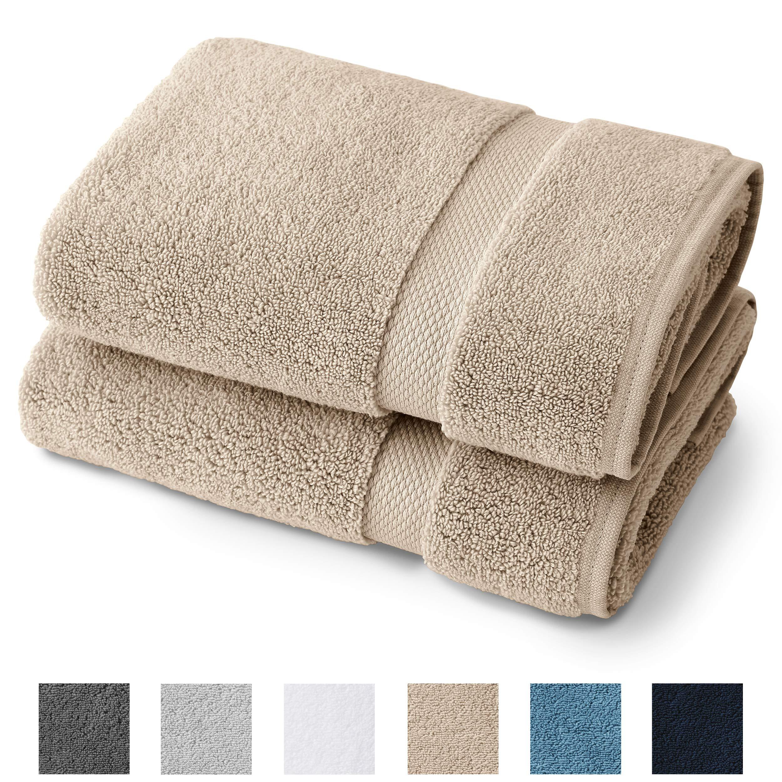 "Supima Cotton Bath Towel Set by Laguna Beach Textile Co - 2 Bath Towels - Hotel Quality, Plush, 730 GSM - Large, 57"" x 30"" - Sand"