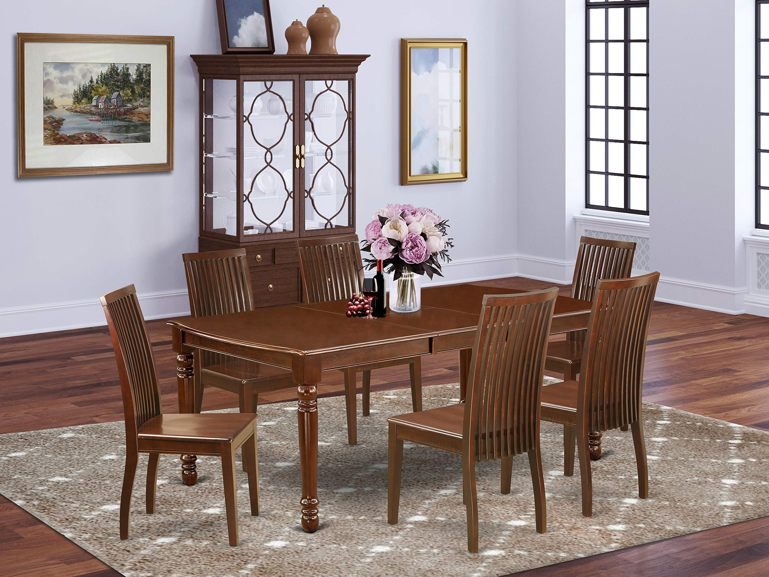 """7Pc Rectangle 60/78"""" Dining Table With 18 In Self Storing Butterfly Leaf And Six Wood Seat Kitchen Chairs"""