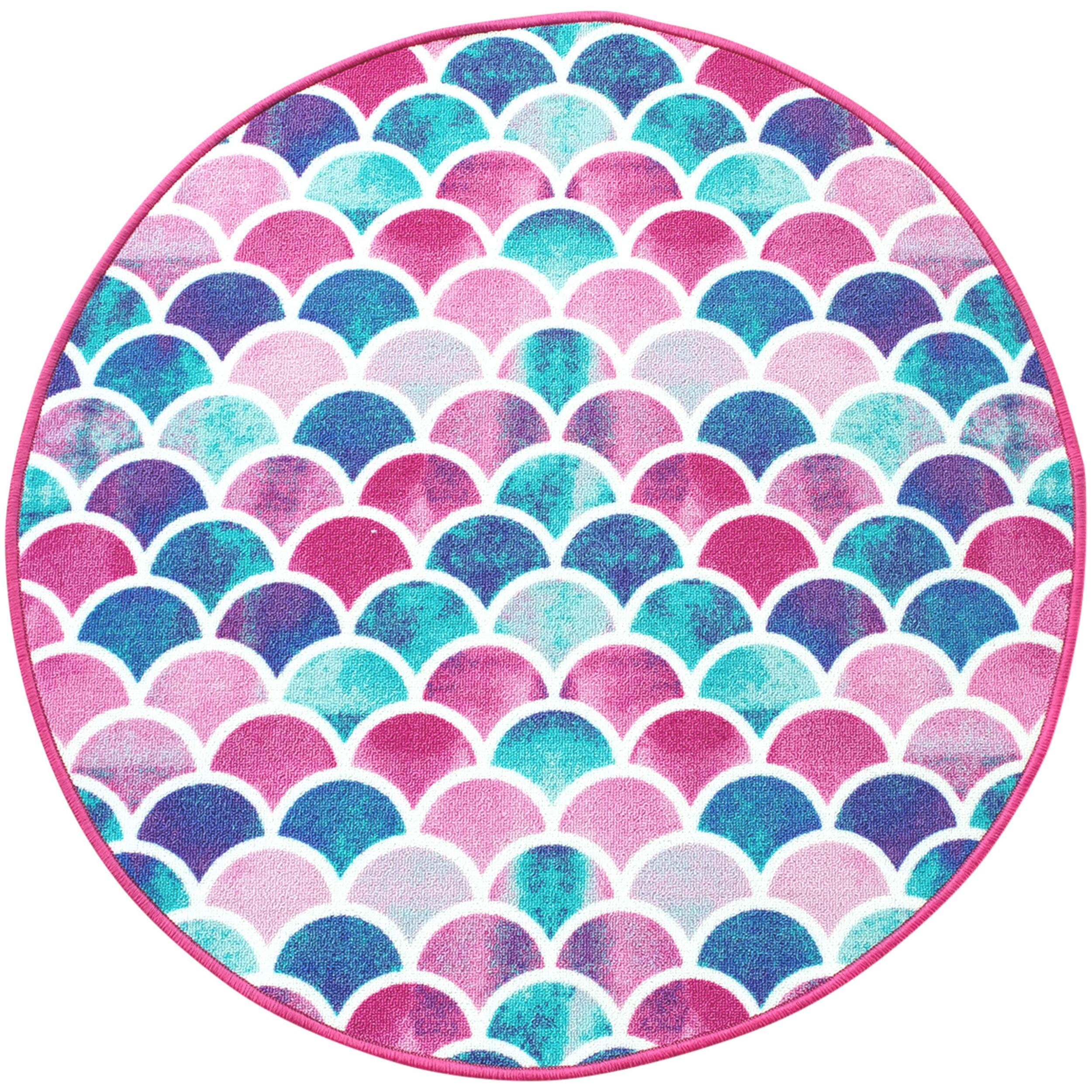 Beautiful, Ultra Plush Mermaid Non Slip Area Rug. Colorful Kids Playroom, Bathroom, or Bedroom Carpet. Bright Pink, Purple, Aqua and Turquoise Colors. Play Mat for Young Girls, Toddlers and Children
