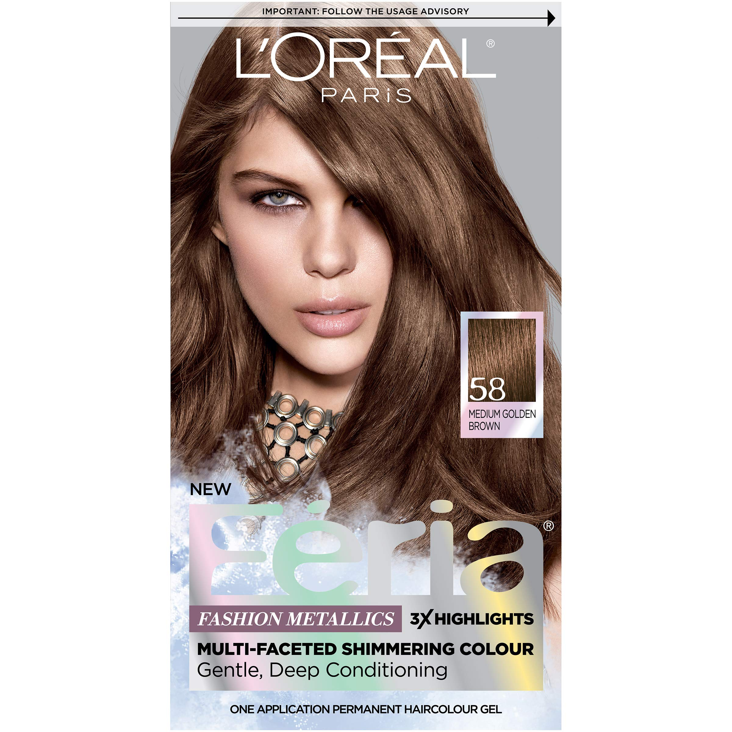 L'Oréal Paris Feria Multi-Faceted Shimmering Permanent Hair Color, 58 Bronze Shimmer (Medium Golden Brown), 1 kit Hair Dye