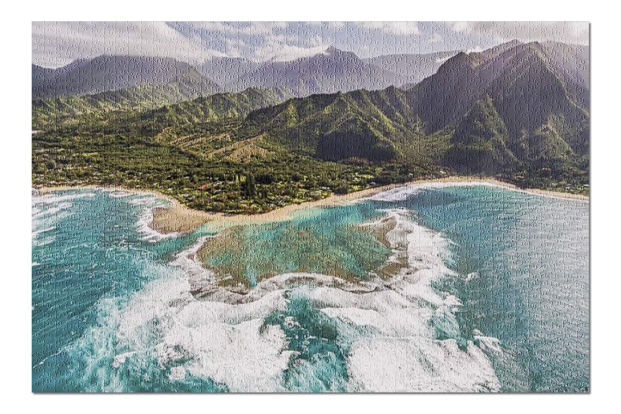 Kauai, Hawaii - Aerial view of Tunnels Beach 9002900 (19x27 Premium 1000 Piece Jigsaw Puzzle, Made in USA!)