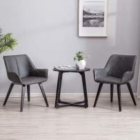 YEEFY Charcoal Leather Contemporary Living Room Chairs with arms Accent Chairs Dining Chairs Set of 4 (Charcoal)