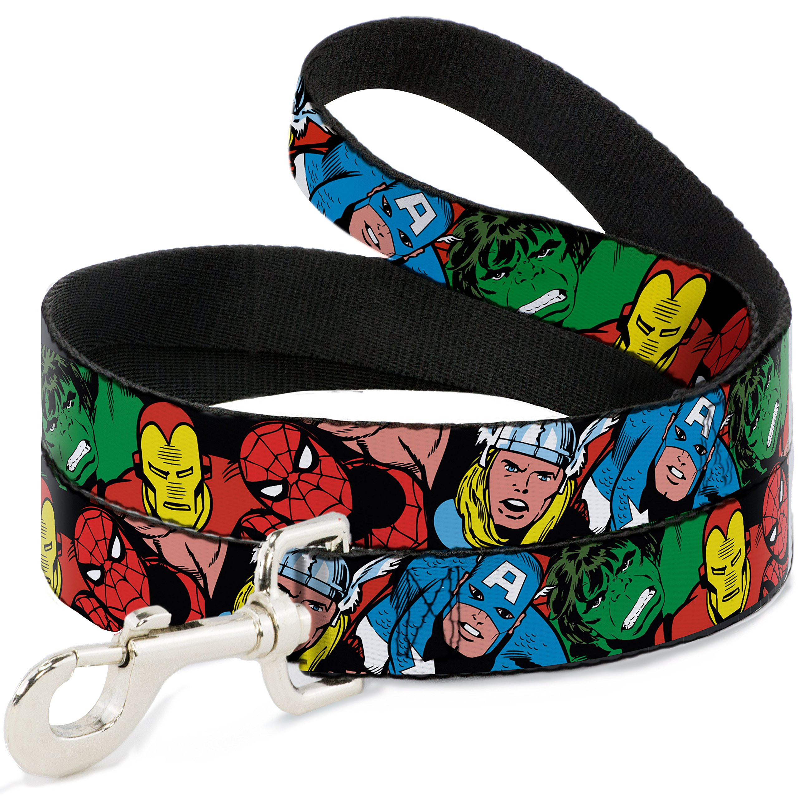 Buckle-Down Dog Leash 5 Marvel Characters Black Available in Different Lengths and Widths for Small Medium Large Dogs and Cats