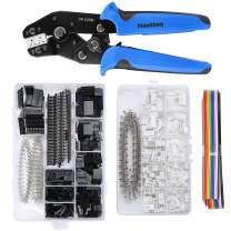 Hautton Dupont Ratchet Crimping Tool Kit, SN-02BM Crimping D-USB Terminal Dupont Ratcheting Crimper Plier Set with 1550 Pcs Dupont Connectors and 460 Pcs 2.54mm JST-XH Connectors