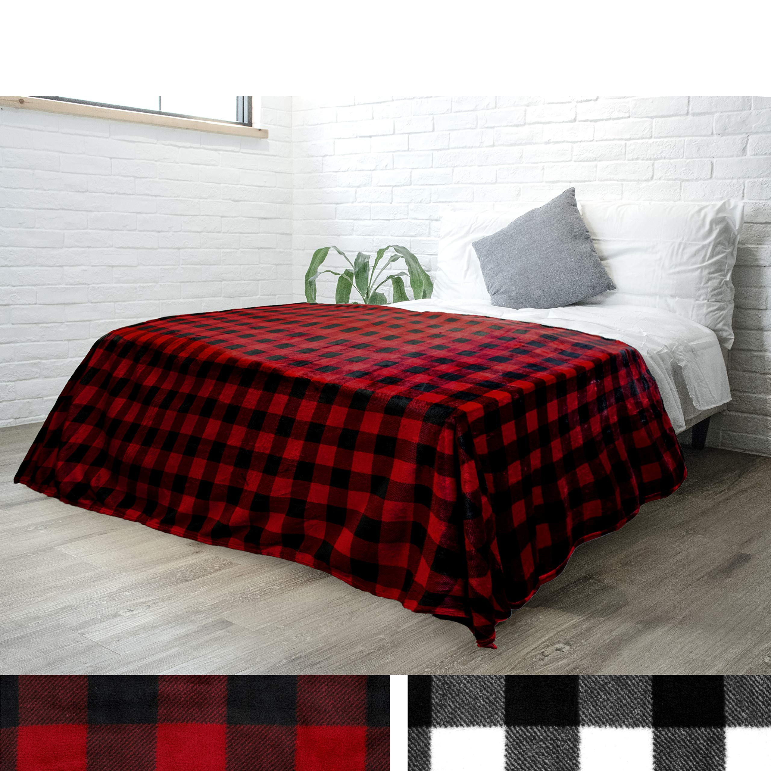 PAVILIA Flannel Fleece Buffalo Checker Blanket for Queen Bed   Super Soft Velvet Plaid Pattern Checkered Decorative Throw   Warm Cozy Lightweight Microfiber   90 x 90 Inches Plaid Red/Black